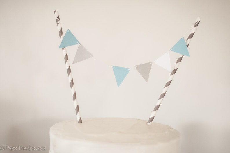 Modern Blue and Gray Cake Topper Pennant Cake Topper Baby image 0