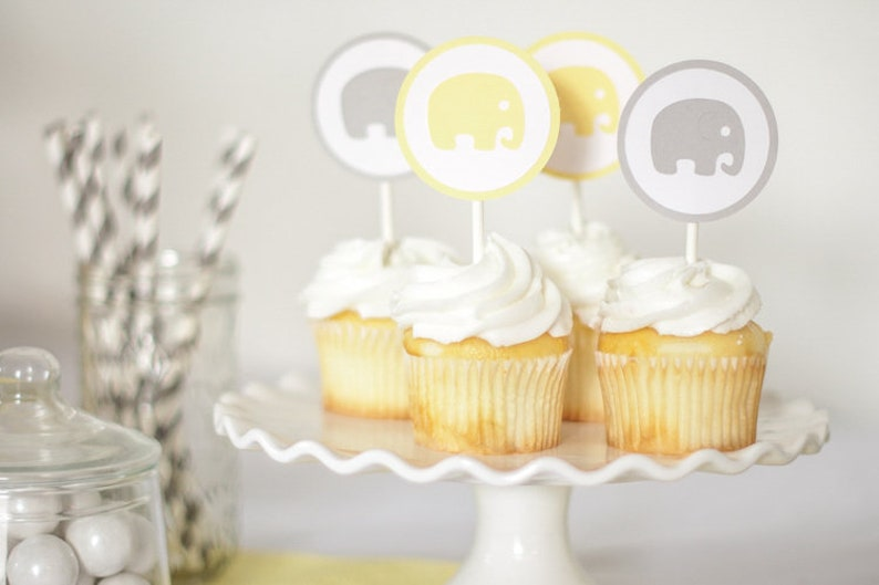 Elephant Cupcake Toppers Elephant Baby Shower Baby Shower image 0