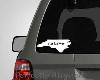 North Carolina NATIVE Home State Vinyl Decal - car decal - macbook decal