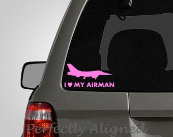 I Heart My Airman - Air Force Spouse Car Decal - air force wife - air force decal - force decal - macbook decal - laptop decal