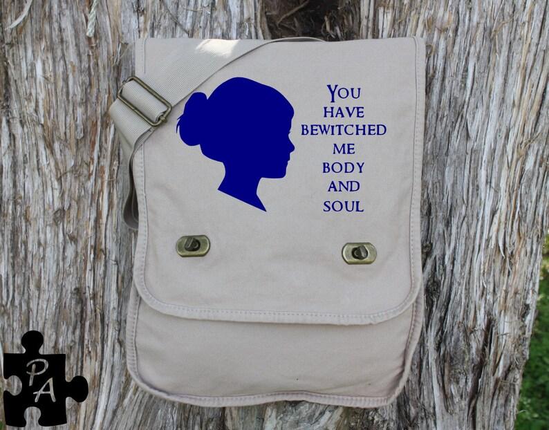 Diaper Bag iPad Bag Jane Austin Quote Canvas Messeneger Bag Laptop Bag School Bag