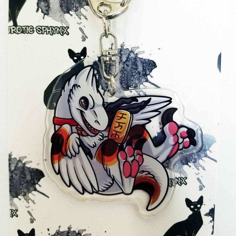 Japanese Lucky Maneki-Neko Raptor Acrylic Keychain