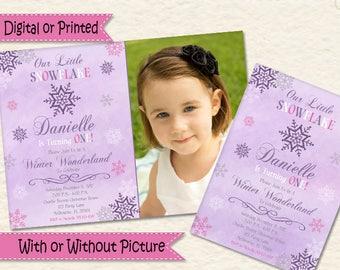 Winter Onederland Invitations First Birthday for Girls Onederland Invitations Snowflake Wonderland Snowflake Personalized 1st birthday Ideas