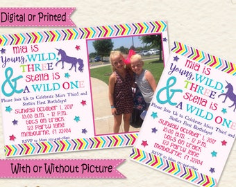 Unicorn Invitations • Unicorn Birthday • Unicorn Party • Young Wild and Three • Wild One • Sisters • Shared Party • Dual Party • Party Ideas