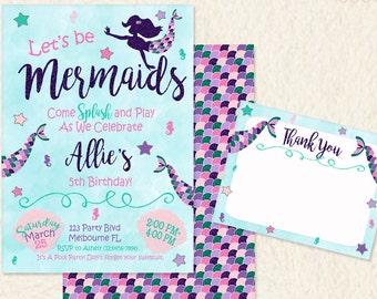 Glitter Mermaid Invitation • Mermaid Birthday Invite • Under the Sea • Pool Beach Party • Glitter • Pink Blue Green Purple •Printable • 030C