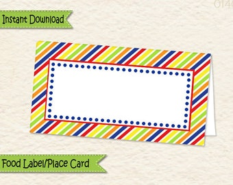Instant Download Music Theme Food Label • Music Food Tent • Music Party Decorations • Sticker label • Allergy Card  • Place Card • 014C3