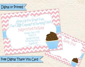 Cupcake Birthday Invitation • First Birthday • Cupcake Party • Second Birthday • Girls Birthday • Pink and Blue Cupcake Birthday