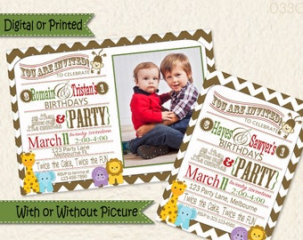 Siblings Joint Party Jungle Themed Chevron Invitations • Jungle Animal • Twins Birthday Invite • Brothers Birthday • Sisters Birthday •Twins
