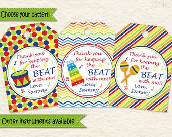 Music Party Favor Tags  • Music Party  • Drum • Xylophone • Maracas • First Birthday • Toddler Birthday • Treat Bags  • Goodie Bags 014C