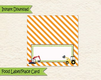 Instant Download Construction Food Label • Bulldozer • Heavy Machines • Allergy Card • Place Card • Excavator • Construction Equipment