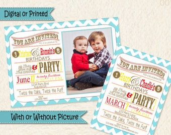 Siblings Joint Party Blue Yellow and Red Chevron Invitations • Shared Birthday Invite • Brothers Birthday • Sisters Birthday • 001k