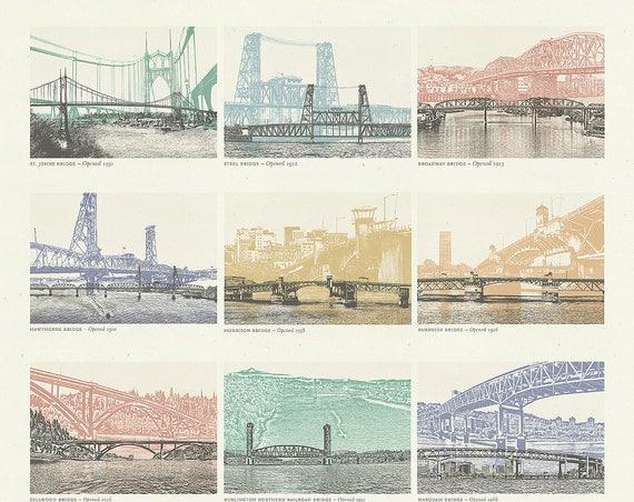 Portland, Oregon Bridge Poster - 12 Willamette River Bridges in Portland - 16x20 Print