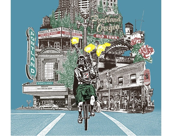 Portland Art Print - Unipiper Cycles through Portland