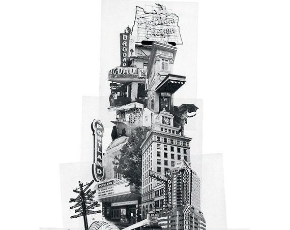 ON SALE!! - Tower of Portland Poster - Offset Reproduction Print -Portland Oregon Icon Photomontage