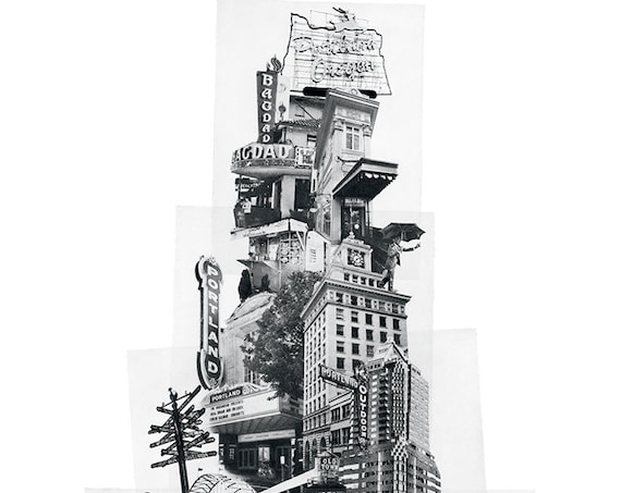 Tower of Portland Poster - Portland Oregon Icon Photomontage -- ON SALE!!
