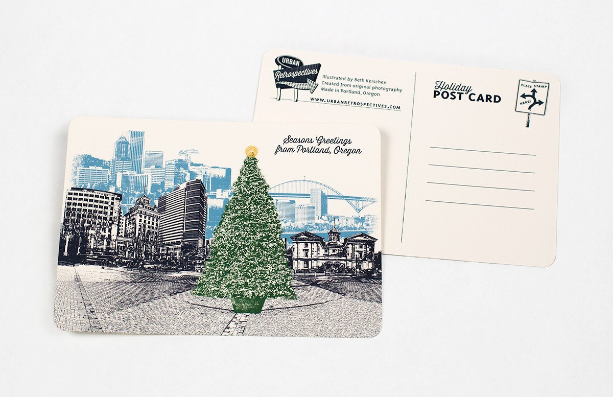 portland holiday themed postcards christmas tree in pioneers
