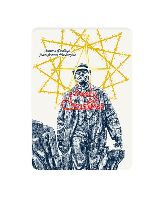 Holiday Seattle Themed Postcards -- Fremont Square's Holiday Dressed Lenin -- Single or Set