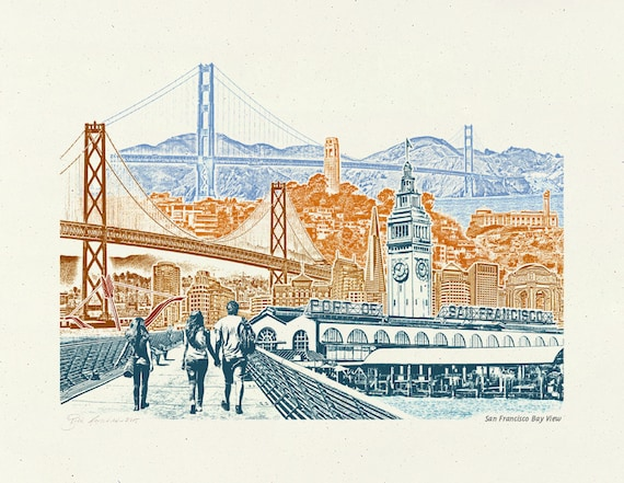 San Fransisco Art Print -- San Fransisco Bay View - 8.5x11, 11x14, and 16x20 Poster