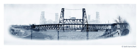 Portland Archival Pigment Print -- Traveling the Steel Bridge  -- Photomontage -- Limited Edition Fine Art Print -- Photo Collage
