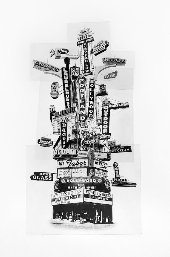 Portland Fine Art -- Portland Marquee Totem -- Original Art Print -- Photographic Etching -- Photography -- Oregon