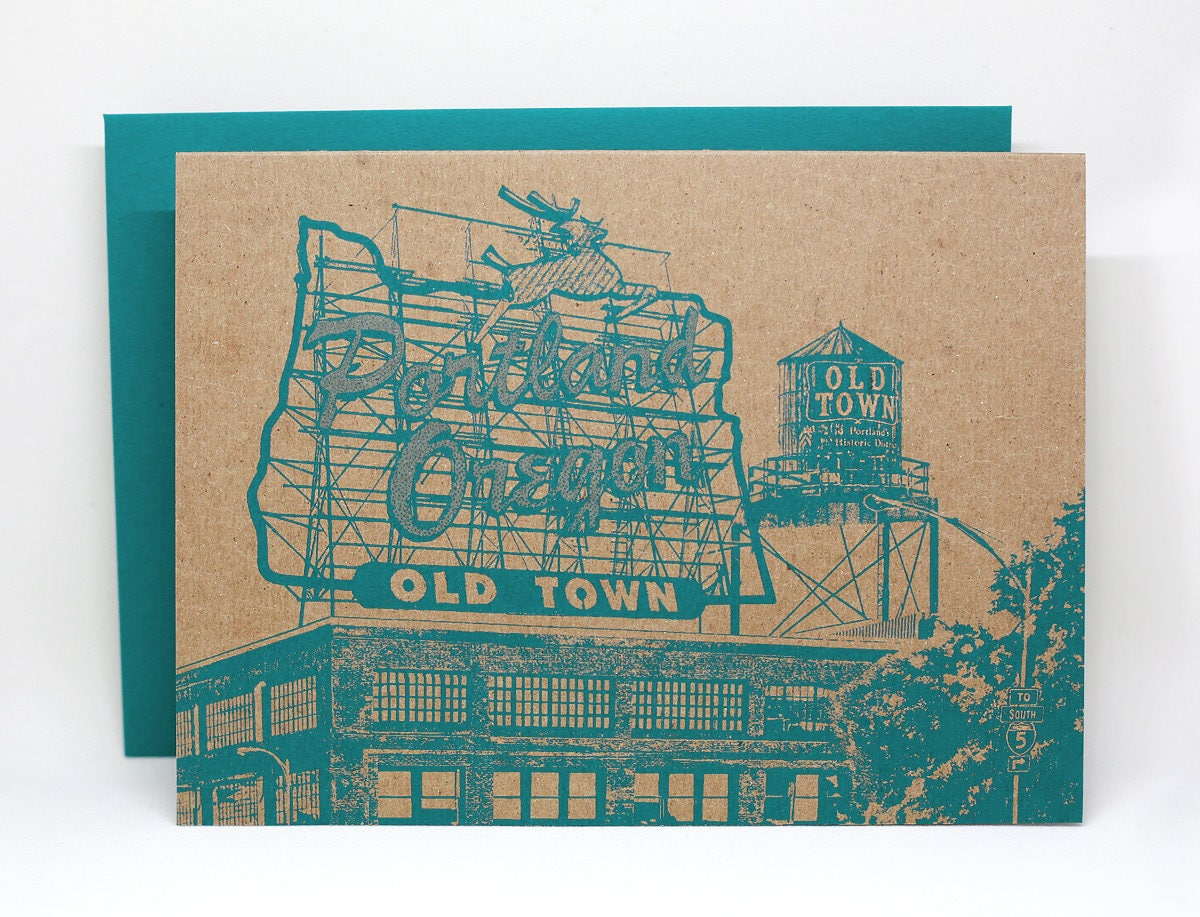 Portland Notecard White Stag Sign Greeting Card Portland