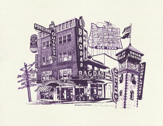Marquees of Portland - Art Print of Portland, Oregon - 8.5 x 11 or 11x14