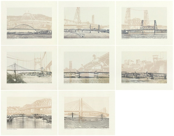 ON SALE! -- Portland Oregon Bridges -- Tan Bridge Art Prints -- 8.5x11 and 11x14