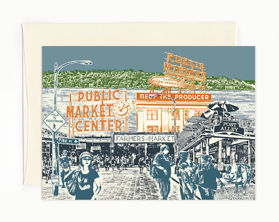 Seattle Notecards -- Shopping at Pike Place Market -- folded Greeting Card  -- Single or Set of 6 -- Seattle, Washington
