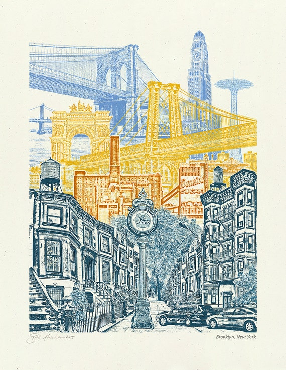 Brooklyn Art Print -- Brooklyn, New York -- Collage -- 8.5x11, 11x14, and 16x20 Poster