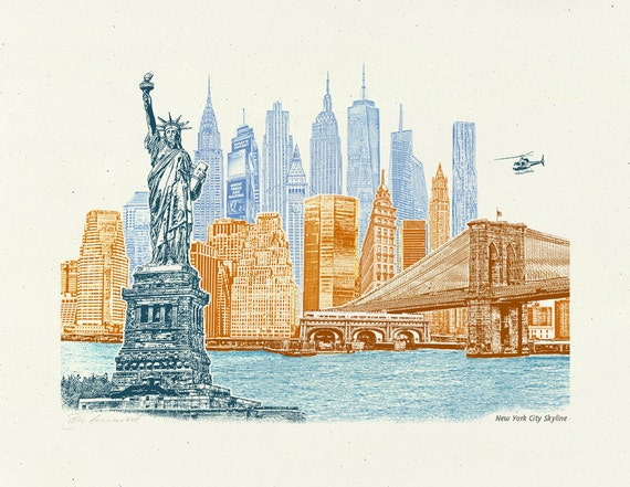 Art Print of NYC, -- New York City Skyline -- 8.5x11, 11x14, and 16x20 Poster