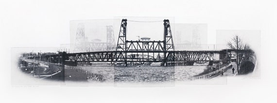 Portland Fine Art -- Traveling the Steel Bridge -- Original Art Print -- Photographic Etching -- Photography -- Oregon