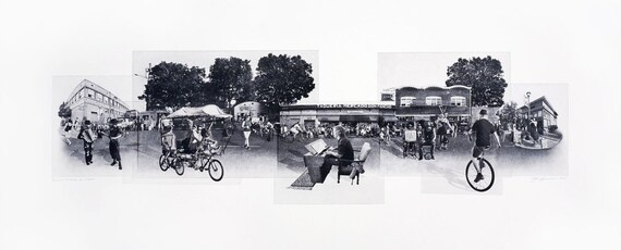 Portland Fine Art -- Last Thursday on Alberta Street -- Original Art Print -- Photographic Etching -- Photography -- Oregon