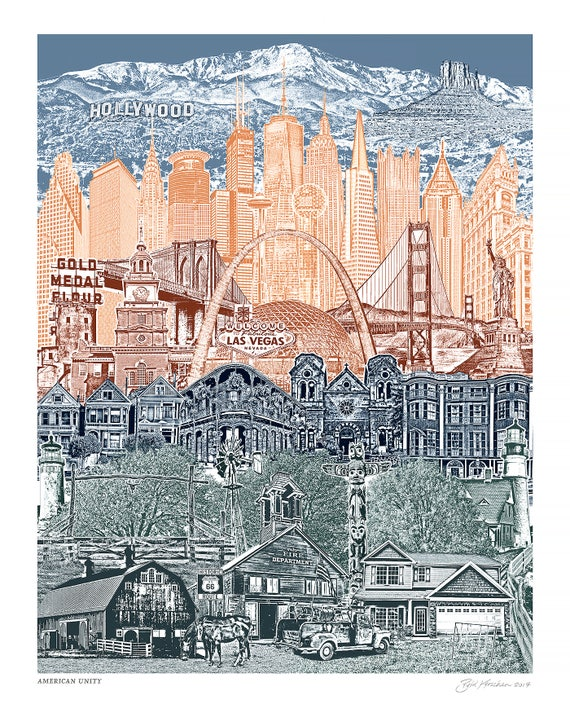 Travel America - Unity Art Print - 8.5x11, 11x14, and 16x20 Poster of USA Landmarks