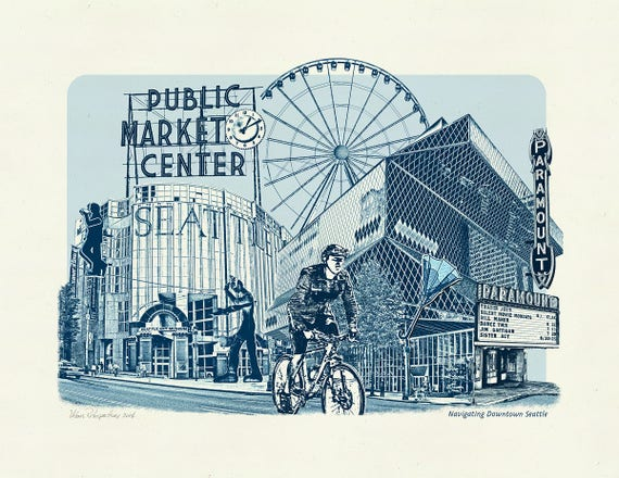 Seattle Art Print -- Navigating Downtown Seattle - Seattle, Washington - 8.5x11 and 11x14