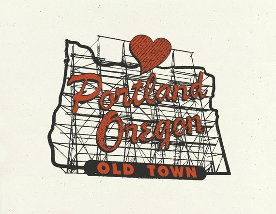 Portland Art Print -- In the Heart of Portland -- 8.5x11