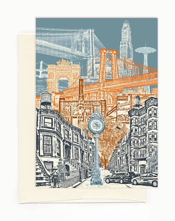 Layers of Brooklyn Notecard - full color - New York - folded Greeting Card - On Sale!! - Single Card or Set of 6