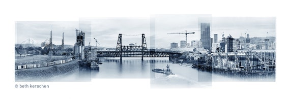 Portland Archival Pigment Print - A Bridge with a View -- Photomontage -- Limited Edition Fine Art Print -- Photo Collage