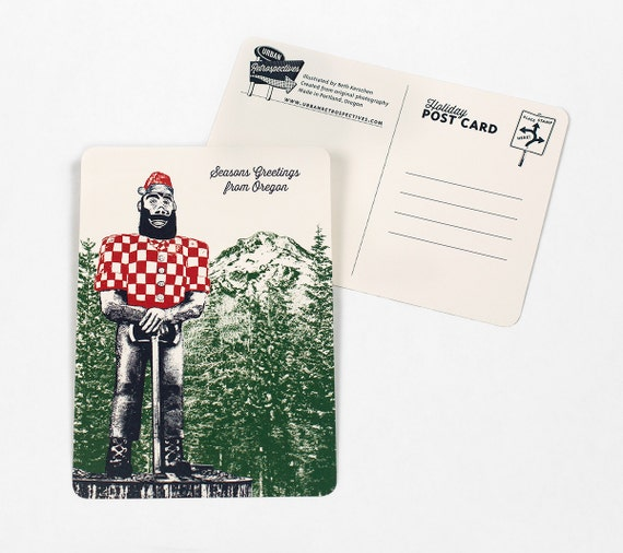 Oregon Holiday Themed Postcards -- Paul Bunyan as Santa -- Single or Set of 8