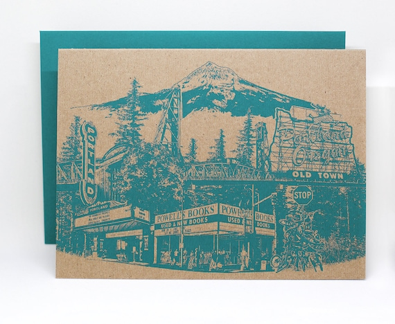 Portland Notecard -- Portlandmark Greeting Card -- Single card or Set of 6