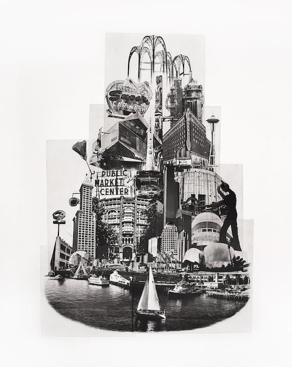 Portland Fine Art -- Tower of Seattle -- Original Art Print -- Photographic Etching -- Photography -- Washington