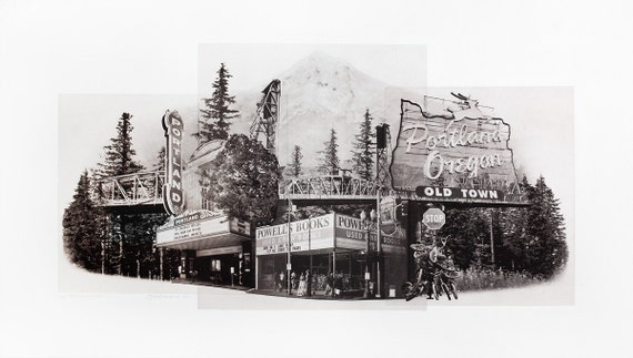 Portland Fine Art -- Portlandmark -- Original Art Print -- Photographic Etching --Photography -- Oregon