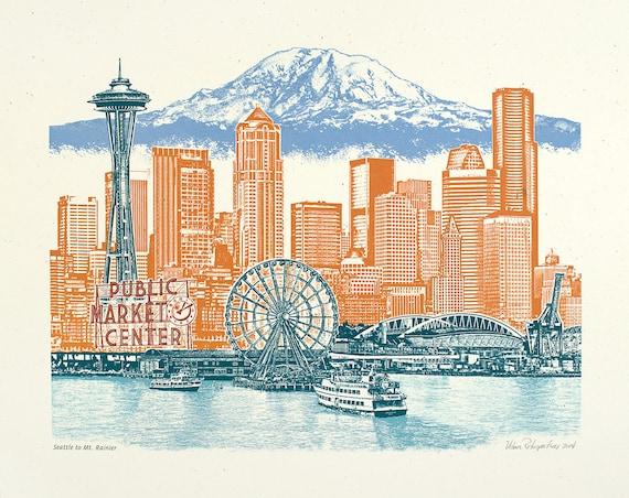 Seattle Art // Print // Wall art // Washington Art // Collage // Cityscape // Seattle to Mt. Rainier - 8.5x11, 11x14, 16x20