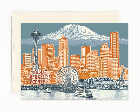 Seattle to Mt. Rainier Notecard - Seattle Washington - full color - folded Greeting Card - Single or Set of 6
