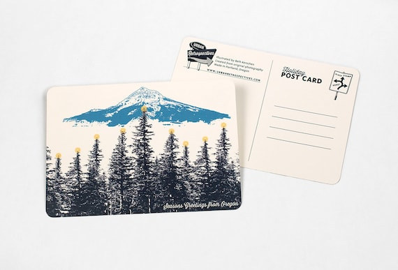 Oregon Holiday Themed Postcards -- Mt. Hood Lit Forest -- Single or Set of 8