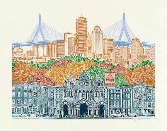 Boston Art Print -- Boston in Autumn -- Massachusetts -- 8.5x11, 11x14 & 16x20 Poster