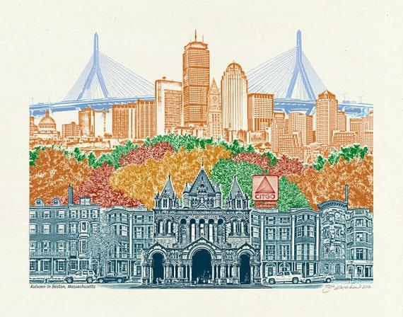 Boston Art // Art Print // Wall art // Massachusetts Art // Poster // Autumn in Boston, Massachusetts // Boston Pride