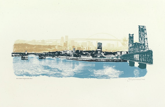 Portland Art Print -- The East Bank Esplanade View of Portland, ORE  --  12.5x19