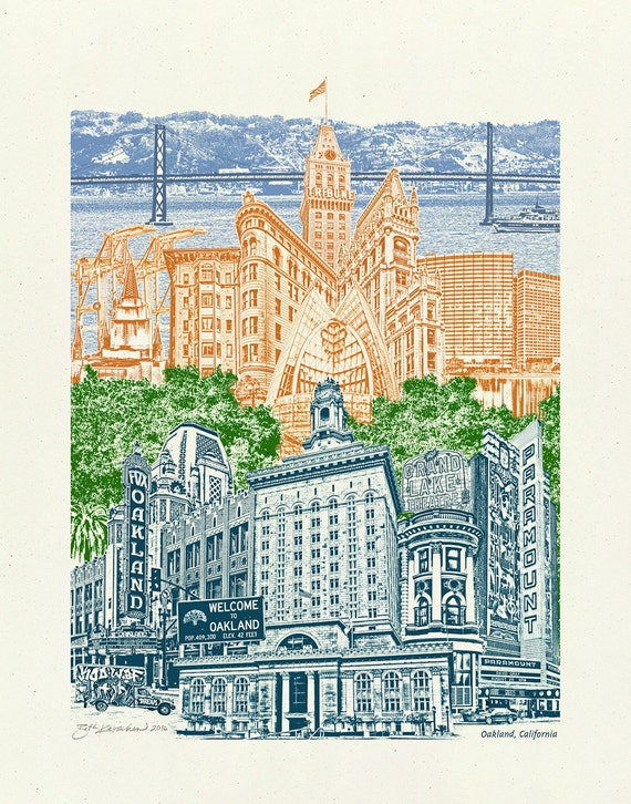 Oakland, California Art Print -- 8.5x11, 11x14, and 16x20 poster