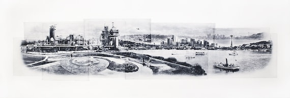 Seattle Fine Art -- Flying over Gasworks Park -- Hand-Printed -- Photographic Etching  -- Washington