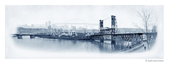 Portland Archival Pigment Print -- Eastbank View of the Rose City  -- Photomontage -- Limited Edition Fine Art Print -- Photo Collage
